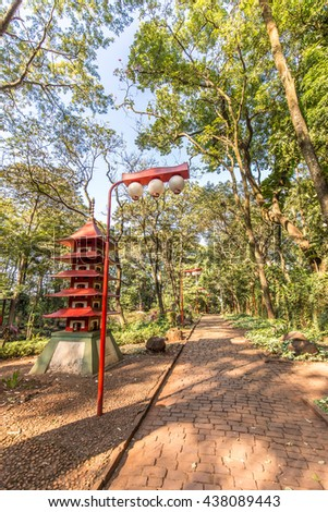 Japanese gardens at Ribeirao Preto city zoo Fabio Barreto. Sao Paulo state. The woods and the zoo boths are in the same place.