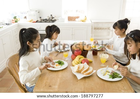 Japanese girls taking meal