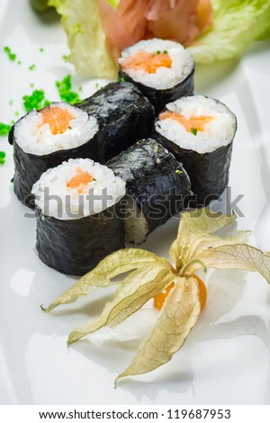 Japanese healthy food-sushi on a white plate