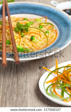 Japanese ramen noodle with green onion and chopsticks