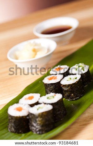 japanese sushi rolls on the leaf