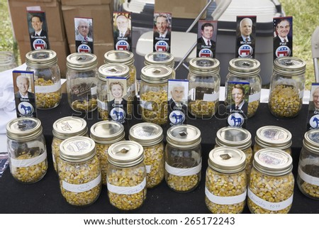Jars of corn representing straw vote for both parties of Iowa Primaries for 2007 Presidential Campaign, Iowa State Fair, August, 2007, Des Moines, Iowa