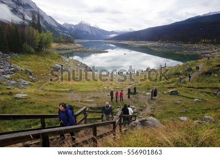 JASPER, CANADA - SEPTEMBER 9, 2016: Medicine Lake, Jasper National Park on 9 September 2016 in Jasper, Medicine Lake is one of the major tourist attractions in and around Jasper