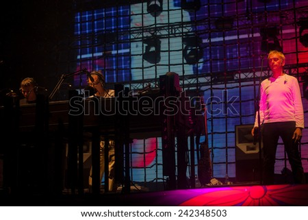 JAZ, MONTENEGRO - JULY 17: UNDERWORLD performs at SEA DANCE Music Festival - EXIT ADVENTURE, on July 17, 2014 at the Jaz beach near Budva, Montenegro.