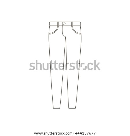 Beautiful Illustration Of Women39s Pants Front And Back Views Raster Version
