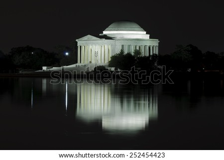 Jefferson Memorial and reflection on the Tidal Basin at night, Washington DC, USA