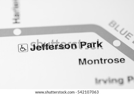 Jefferson Park Station. Chicago Metro map.