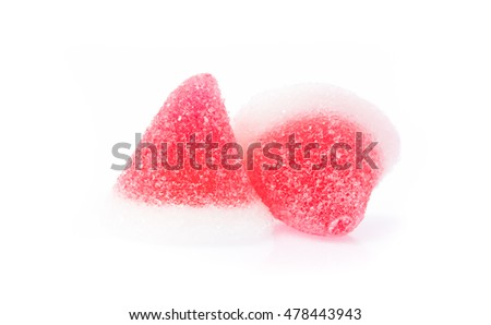 jelly candies, sweets with sugar isolated on white background