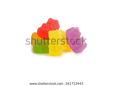 Jelly Gummy Bears Isolated On White