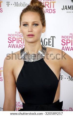 Jennifer Lawrence at the 2013 Film Independent Spirit Awards held at the Santa Monica Beach in Los Angeles, United States on February 23, 2013.