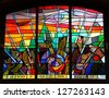 JERUSALEM, ISRAEL  DECEMBER  21: Stained-glass window  inside the Great Synagogue(1982) on King George Street on December 21, 2012 in Jerusalem, Israel. It  has a huge prayer hall for 2000 people - stock photo