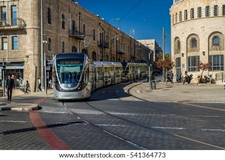 Jerusalem Israel December 8 Tram On Stock Photo 535272772