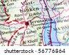 Jerusalem on a map - stock photo