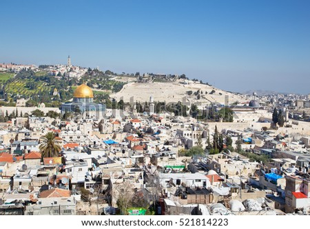 Jerusalem - Outlook over the old town to Dom of Rock and Mount of Olives.