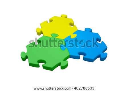 Jigsaw pieces with white background