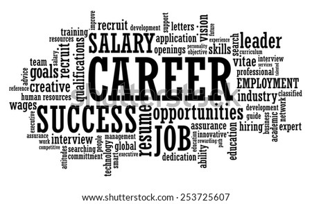 Job Career Employment Opportunity word cloud raster illustration