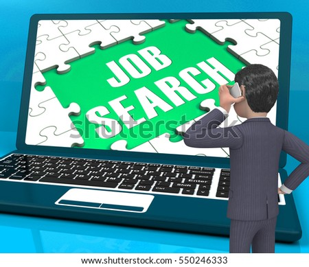 Job Search On Laptop Shows Online Recruitment 3d Rendering