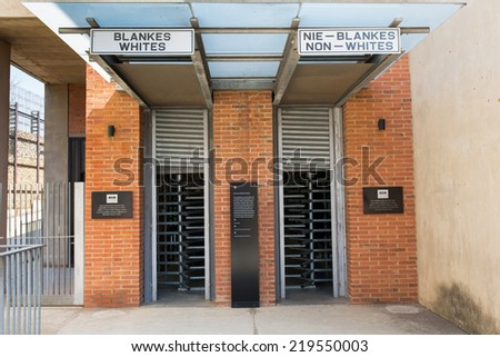 JOHANNESBURG, AUGUST 21: Apartheid Museum Entrance on August 21, 2014 in Johannesburg. The Apartheid Museum is dedicated to illustrating apartheid and the 20th century history of South Africa