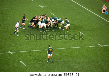 JOHANNESBURG, SOUTH AFRICA - AUGUST 21: The South African National Rugby team defends the New Zealand All Blacks on August 21 2010. NZ beat SA by 29 points to 22 to win the 2010 Tri-Nations.