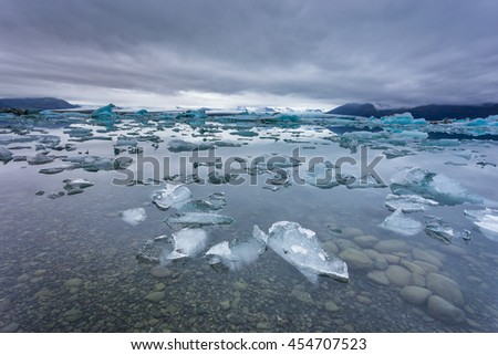 Jokulsarlon is a large glacial lake in southeast Iceland, on the borders of Vatnajokull National Park, Iceland.