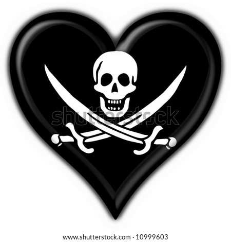 Jolly Roger skull and crossed swords symbol button heart flag