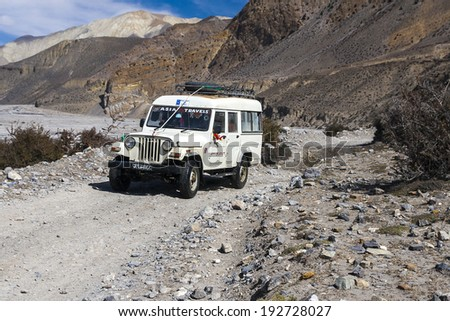 JOMSOM, NEPAL - CIRCA NOVEMBER 2013: Jeep is the primary means of transport in the village of Jomsom circa November 2013 in Jomsom.