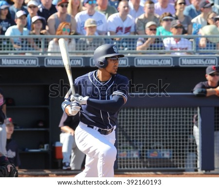 Jon Jay outfielder for the San Diego Padres at Peoria Field in Peoria AZ 3,12,16. case#02756503
