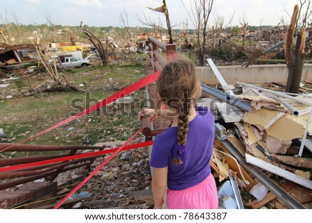 JOPLIN, MO - MAY 22: The killer EF-5 tornado which caused extensive damage and 160 deaths forever changed the lives of young and old alike who experienced the devastation. May 22, 2011, Joplin, Mo