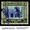 JORDAN-CIRCA 1954:A stamp printed in Jordan shows image of Al-Aqsa Mosque  also known as al-Aqsa, is the third holiest site in Sunni Islam and is located in the Old City of Jerusalem, circa 1954. - stock photo