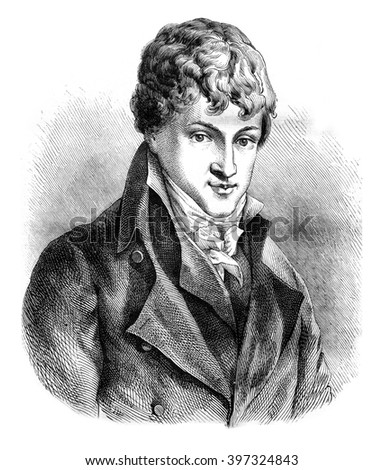 Joseph Acerbi, portrait of preserved at the Manufacture nationale de Sevres, vintage engraved illustration. Magasin Pittoresque 1876.