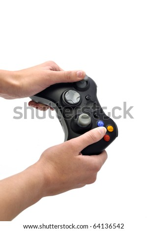 joystick and hands isolated white