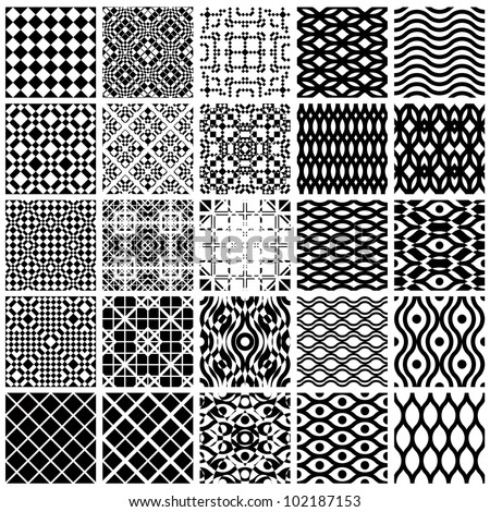 set monochrome geometric seamless patterns vector stock vector 108687287 shutterstock. Black Bedroom Furniture Sets. Home Design Ideas
