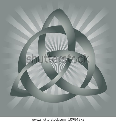 ... of gray celtic knot on silvery gray background. - stock photo