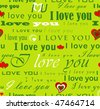 "JPEG / Raster version of seamless wallpaper valentine with hearts and superscription ""I love you"" - on green christmas background - stock photo"