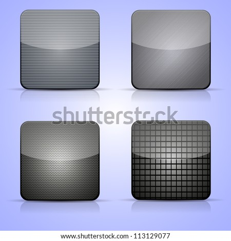 Jpeg version. metal app icon set on blue background