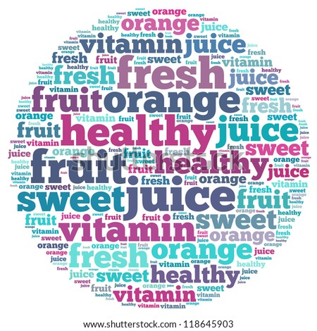 Juice info-text graphics and arrangement concept on white background (word cloud)