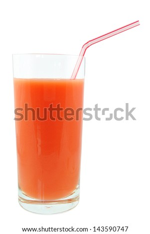 juice of strawberries on a white background