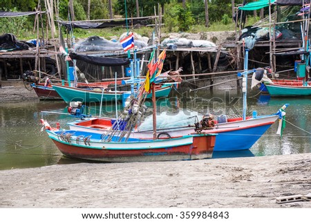 July 8,2015:fisherman boat at Pranburi,Thailand