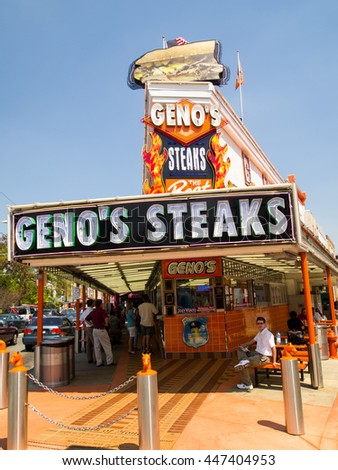 July 10, 2010: Philadelphia, PA: Geno's Steaks in Philadelphia.  The establishment began in 1966, is open 24 hours a day, and serves up to 4,500 sandwiches a day.