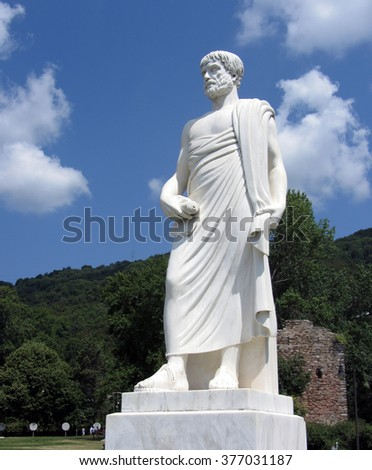 JULY 2013, SITHONIA, GREECE - White marble staute of Aristotle