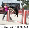 jumping purebred  border collie with woman in a competition - stock photo