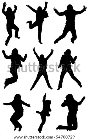 jumping silhouettes isolated on white