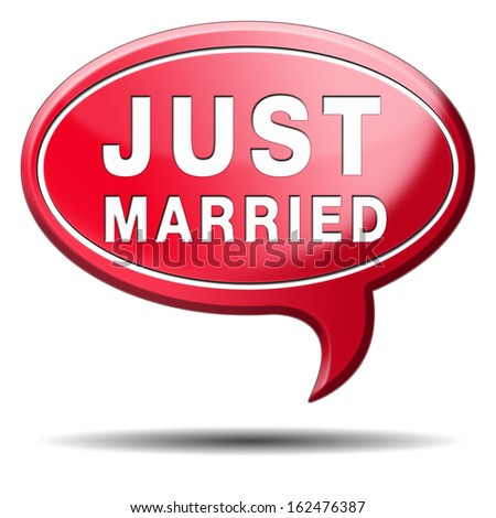 just married button icon sign or sticker marriage card or date