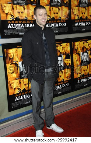 "JUSTIN TIMBERLAKE at the world premiere of his new movie ""Alpha Dog"" at the Arclight Theatre, Hollywood. January 3, 2007  Los Angeles, CA Picture: Paul Smith / Featureflash"