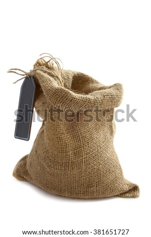 Jute bag filled with beans isolated over white