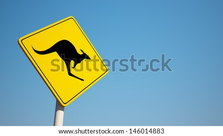 Kangaroo Sign with Clipping Path
