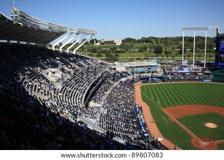 KANSAS CITY - SEPTEMBER 27: A late season baseball game at Kauffman Stadium on September 27, 2009 in Kansas City, Missouri. The ballpark opened in 1973 at a cost of $70 million and seats 37,903.