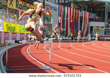 KAPFENBERG, AUSTRIA - AUGUST 9, 2015: Verena Preiner (#233 Austria) participates in the national track and field championship.