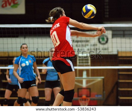 KAPOSVAR, HUNGARY - FEBRUARY 20: Unidentified BSE player in action at the Hungarian Cup woman volleyball game Kaposvar vs. BSE, February 20, 2008 in Kaposvar, Hungary.