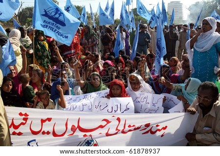 KARACHI-SEPT 27: Relatives of fishermen, who were detained in Indian prisons protest for their release during rally arranged by Fisher Folk Forum (PFFF) on Monday Sept 27, 2010 in Karachi, Pakistan